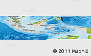 Shaded Relief Panoramic Map of Indonesia, physical outside