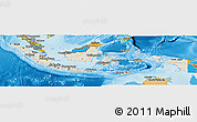 Shaded Relief Panoramic Map of Indonesia, political outside, shaded relief sea