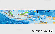 Shaded Relief Panoramic Map of Indonesia, political shades outside, shaded relief sea