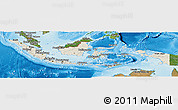 Shaded Relief Panoramic Map of Indonesia, satellite outside, shaded relief sea