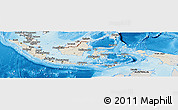 Shaded Relief Panoramic Map of Indonesia, semi-desaturated, land only