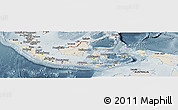 Shaded Relief Panoramic Map of Indonesia, semi-desaturated
