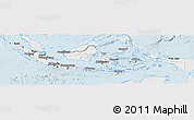 Silver Style Panoramic Map of Indonesia, single color outside