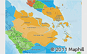 Political Shades 3D Map of Riau