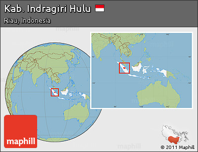 Free Savanna Style Location Map Of Kab Indragiri Hulu Highlighted Country Within The Entire Country
