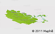 Physical Panoramic Map of Riau, cropped outside