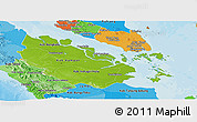 Physical Panoramic Map of Riau, political shades outside