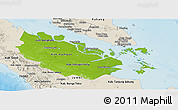 Physical Panoramic Map of Riau, shaded relief outside