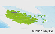 Physical Panoramic Map of Riau, single color outside