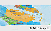 Political Shades Panoramic Map of Riau
