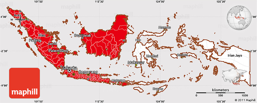 flag simple map of indonesia flag aligned to the middle
