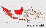 Flag Simple Map of Indonesia, flag rotated
