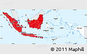 Flag Simple Map of Indonesia, single color outside, flag aligned to the middle