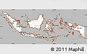 Gray Simple Map of Indonesia, cropped outside