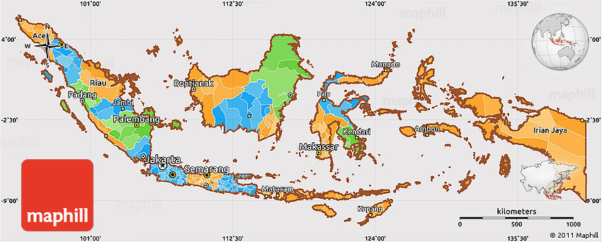 Political Simple Map of Indonesia cropped outside