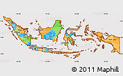 Political Simple Map of Indonesia, cropped outside