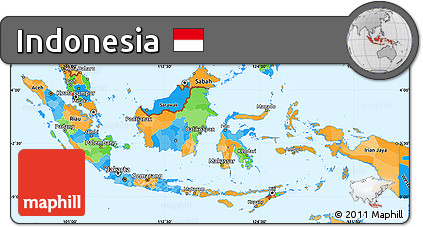 Free Political Simple Map of Indonesia