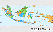 Political Simple Map of Indonesia, political shades outside