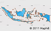 Political Shades Simple Map of Indonesia, cropped outside