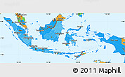 Political Shades Simple Map of Indonesia, political outside