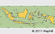 Savanna Style Simple Map of Indonesia, cropped outside