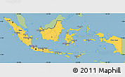 Savanna Style Simple Map of Indonesia, single color outside