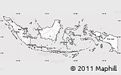 Silver Style Simple Map of Indonesia, cropped outside