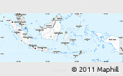 Silver Style Simple Map of Indonesia