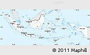 Silver Style Simple Map of Indonesia, single color outside