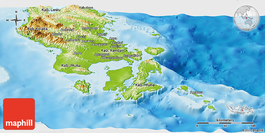 Physical Panoramic Map of SouthEast Sulawesi