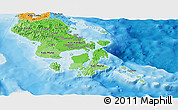 Political Shades Panoramic Map of South-East Sulawesi