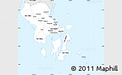 Silver Style Simple Map of South-East Sulawesi