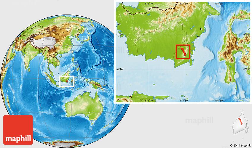 Physical Location Map Of Kab Hulu Sungai Selatan