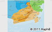 Political Shades Panoramic Map of South Kalimantan