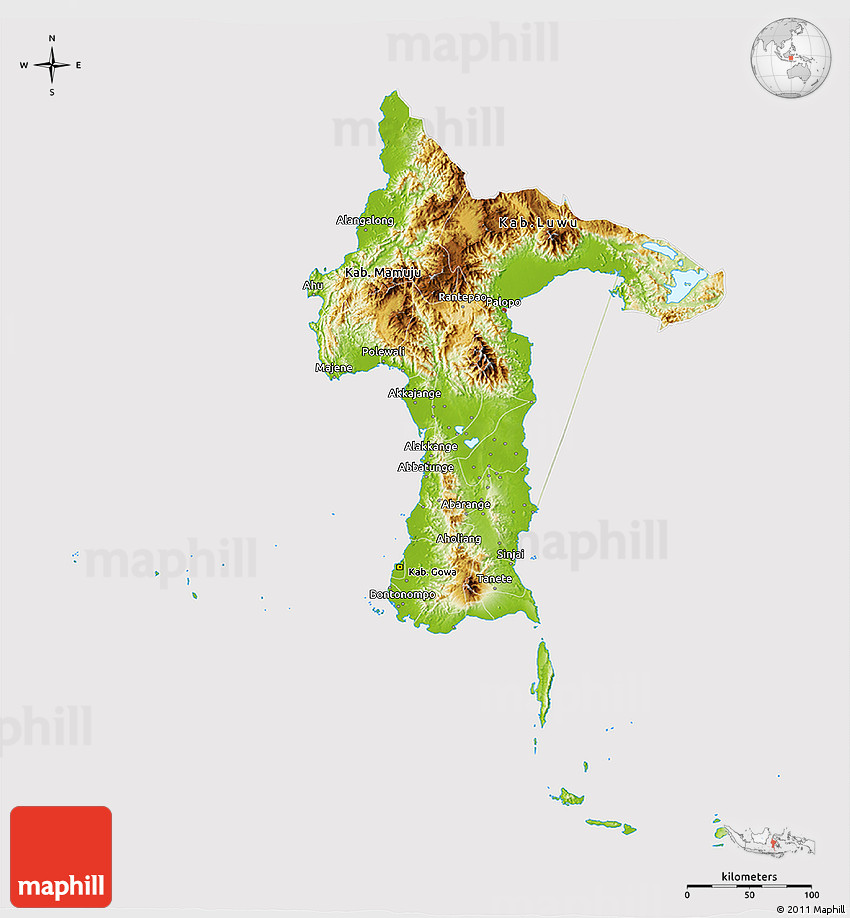 Physical 3D Map of South Sulawesi cropped outside