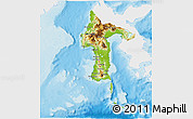 Physical 3D Map of South Sulawesi, single color outside