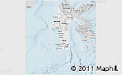 Silver Style 3D Map of South Sulawesi