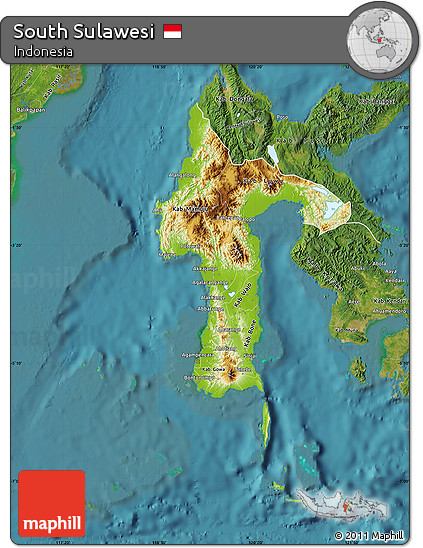 Free Physical Map of South Sulawesi satellite outside