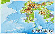 Physical Panoramic Map of South Sulawesi