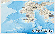 Shaded Relief Panoramic Map of South Sulawesi