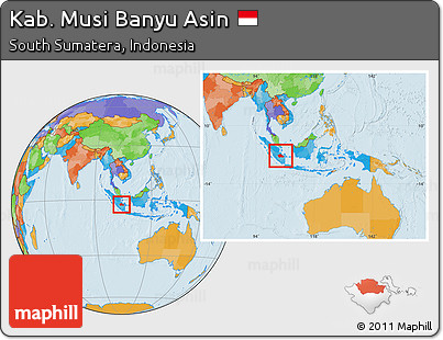 Free Political Location Map Of Kab Musi Banyu Asin Within The Entire Country