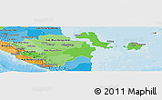 Political Shades Panoramic Map of South Sumatera