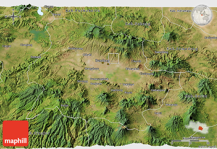 Satellite 3D Map of Kab Bandung