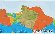 Satellite 3D Map of Kab. Bekasi, political outside