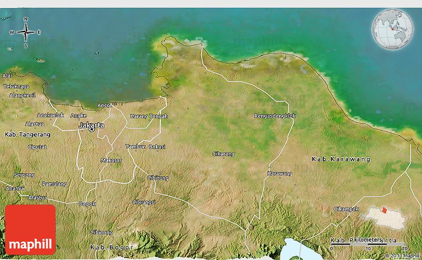 Satellite 3D Map of Kab Bekasi