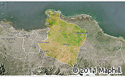 Satellite 3D Map of Kab. Bekasi, semi-desaturated