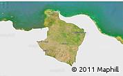 Satellite 3D Map of Kab. Bekasi, single color outside
