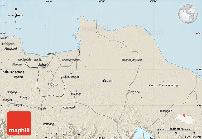 Bekasi Indonesia  city pictures gallery : Shaded Relief Map of Kab. Bekasi