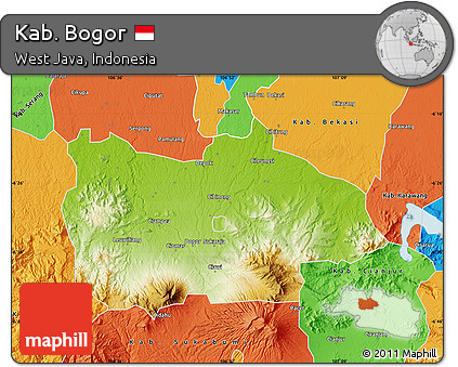 Free Physical Map of Kab Bogor political outside
