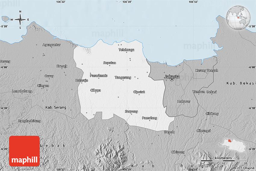 Gray Map of Kab Tangerang